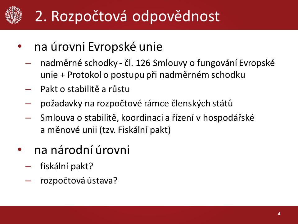 2. Rozpočtová odpovědnost na úrovni Evropské unie – nadměrné schodky - čl.
