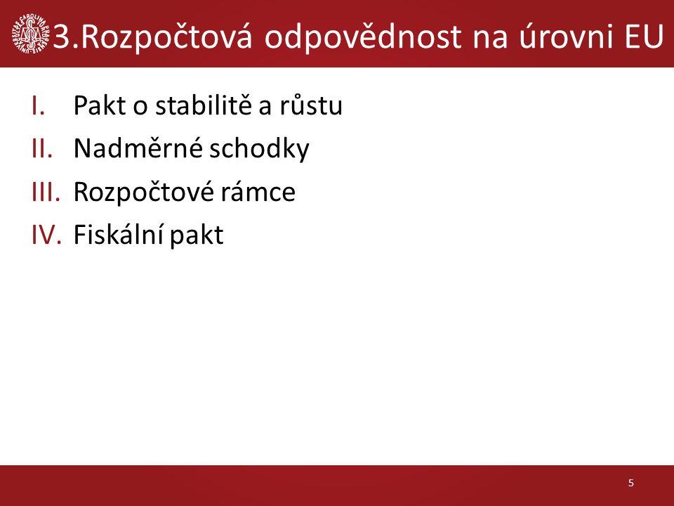 3.Rozpočtová odpovědnost na úrovni EU I.Pakt o stabilitě a růstu II.Nadměrné schodky III.Rozpočtové rámce IV.Fiskální pakt 5