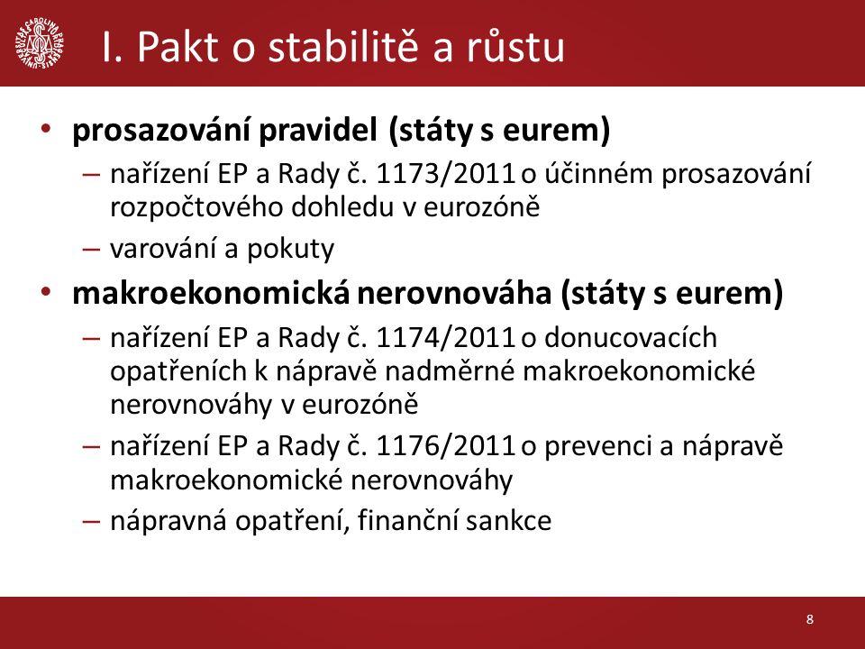 I. Pakt o stabilitě a růstu 8 prosazování pravidel (státy s eurem) – nařízení EP a Rady č.