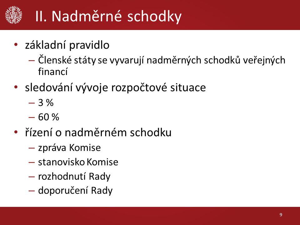 II. Nadměrné schodky základní pravidlo – Členské státy se vyvarují nadměrných schodků veřejných financí sledování vývoje rozpočtové situace – 3 % – 60