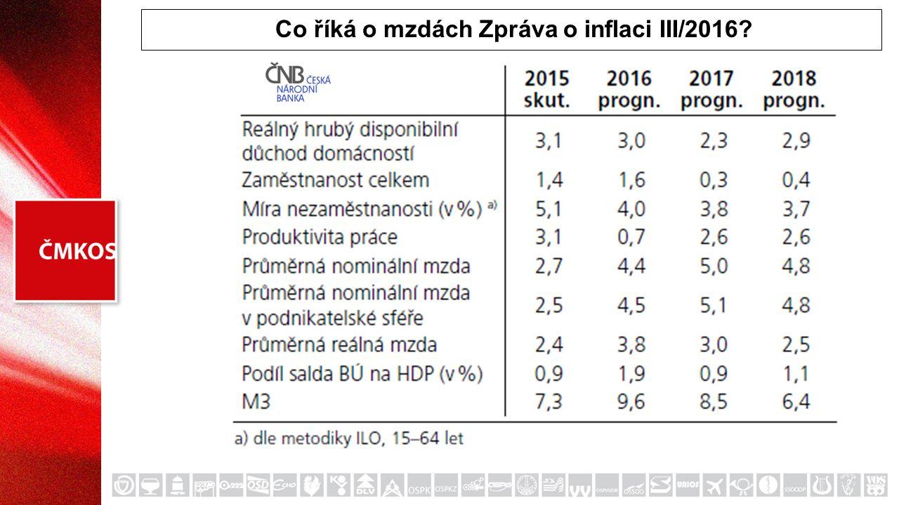 Co říká o mzdách Zpráva o inflaci III/2016?