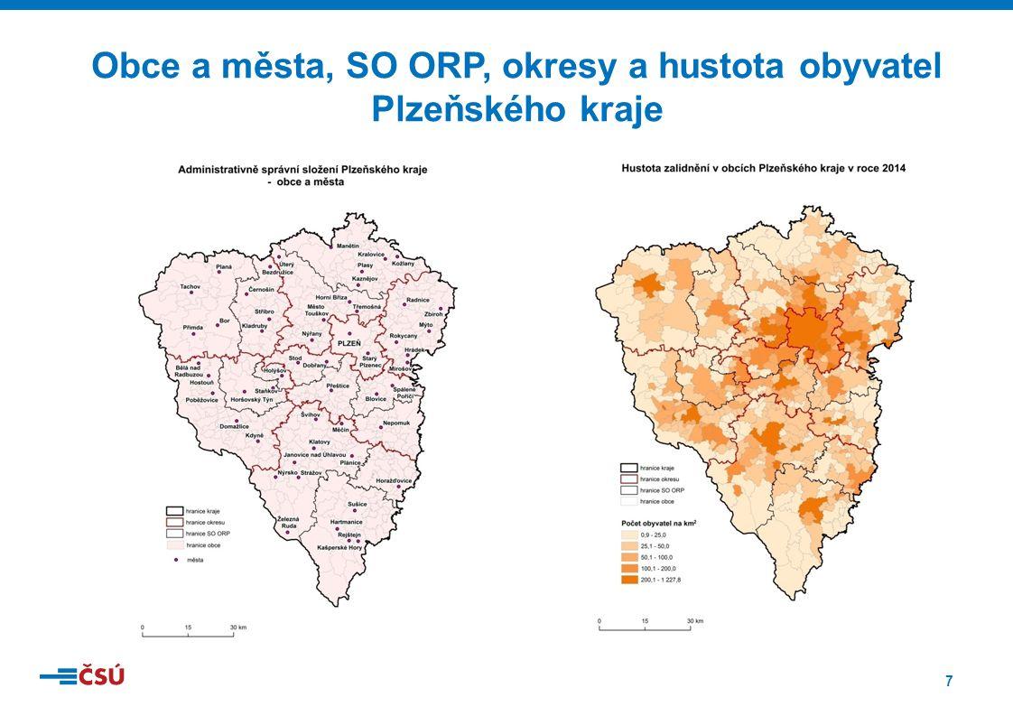 7 Obce a města, SO ORP, okresy a hustota obyvatel Plzeňského kraje