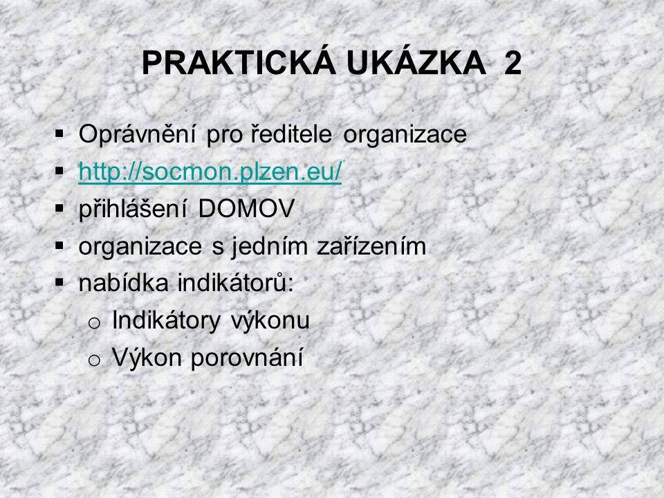 PRAKTICKÁ UKÁZKA 2  Oprávnění pro ředitele organizace  http://socmon.plzen.eu/ http://socmon.plzen.eu/  přihlášení DOMOV  organizace s jedním zařízením  nabídka indikátorů: o Indikátory výkonu o Výkon porovnání