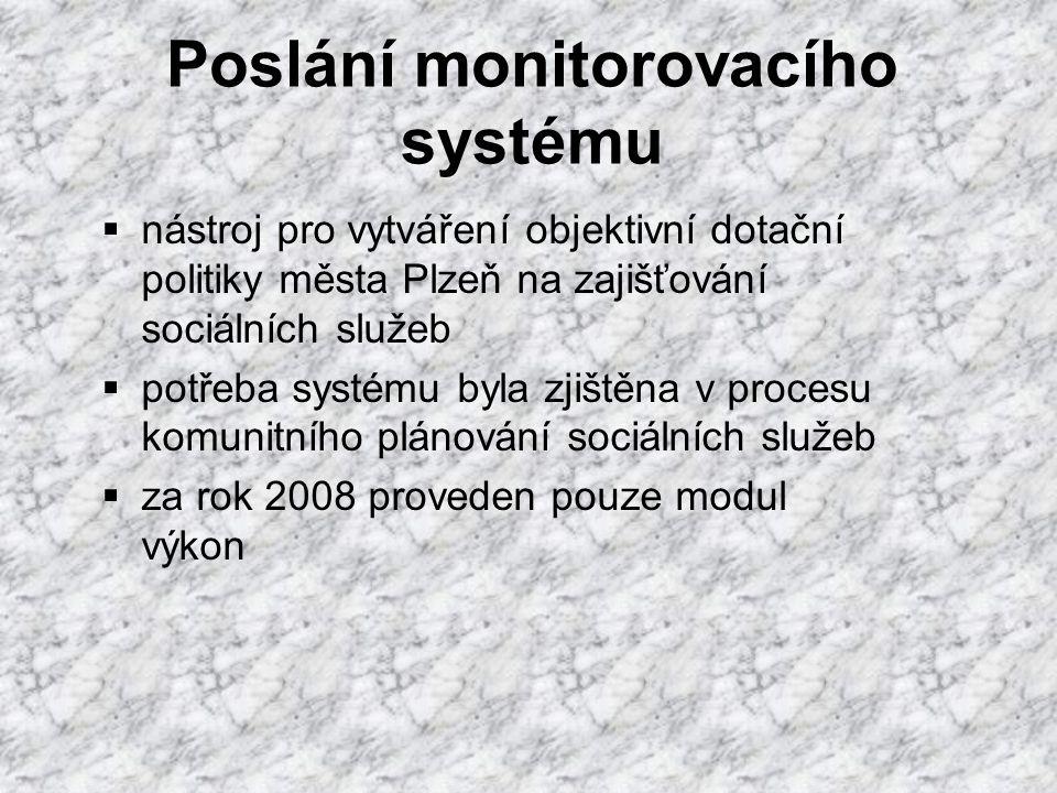Poslání monitorovacího systému  nástroj pro vytváření objektivní dotační politiky města Plzeň na zajišťování sociálních služeb  potřeba systému byla zjištěna v procesu komunitního plánování sociálních služeb  za rok 2008 proveden pouze modul výkon