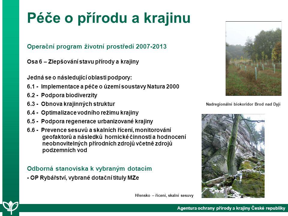 Agentura ochrany přírody a krajiny České republiky Operační program životní prostředí 2007-2013 Osa 6 – Zlepšování stavu přírody a krajiny Jedná se o následující oblasti podpory: 6.1 - Implementace a péče o území soustavy Natura 2000 6.2 - Podpora biodiverzity 6.3 - Obnova krajinných struktur 6.4 - Optimalizace vodního režimu krajiny 6.5 - Podpora regenerace urbanizované krajiny 6.6 - Prevence sesuvů a skalních řícení, monitorování geofaktorů a následků hornické činnosti a hodnocení neobnovitelných přírodních zdrojů včetně zdrojů podzemních vod Odborná stanoviska k vybraným dotacím - OP Rybářství, vybrané dotační tituly MZe Hřensko – řícení, skalní sesuvy Nadregionální biokoridor Brod nad Dyjí Péče o přírodu a krajinu