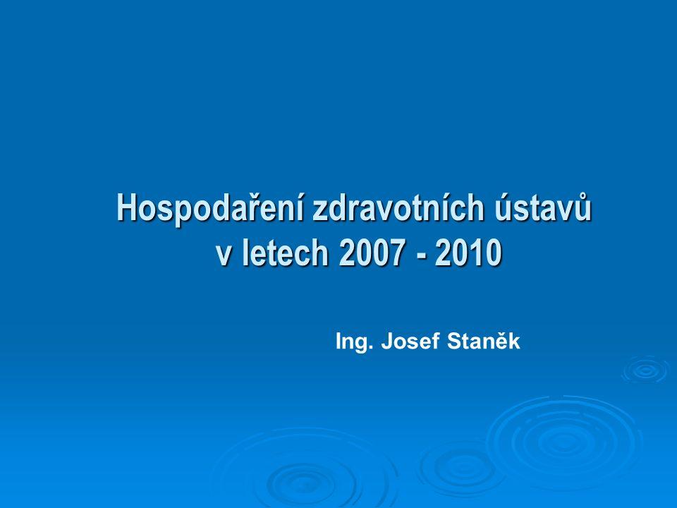 Hospodaření zdravotních ústavů v letech 2007 - 2010 Ing. Josef Staněk