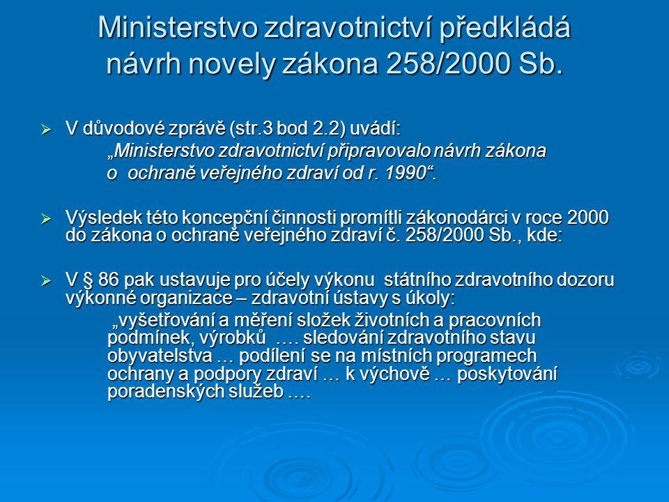 """Ministerstvo zdravotnictví předkládá návrh novely zákona 258/2000 Sb.  V důvodové zprávě (str.3 bod 2.2) uvádí: """"Ministerstvo zdravotnictví připravov"""
