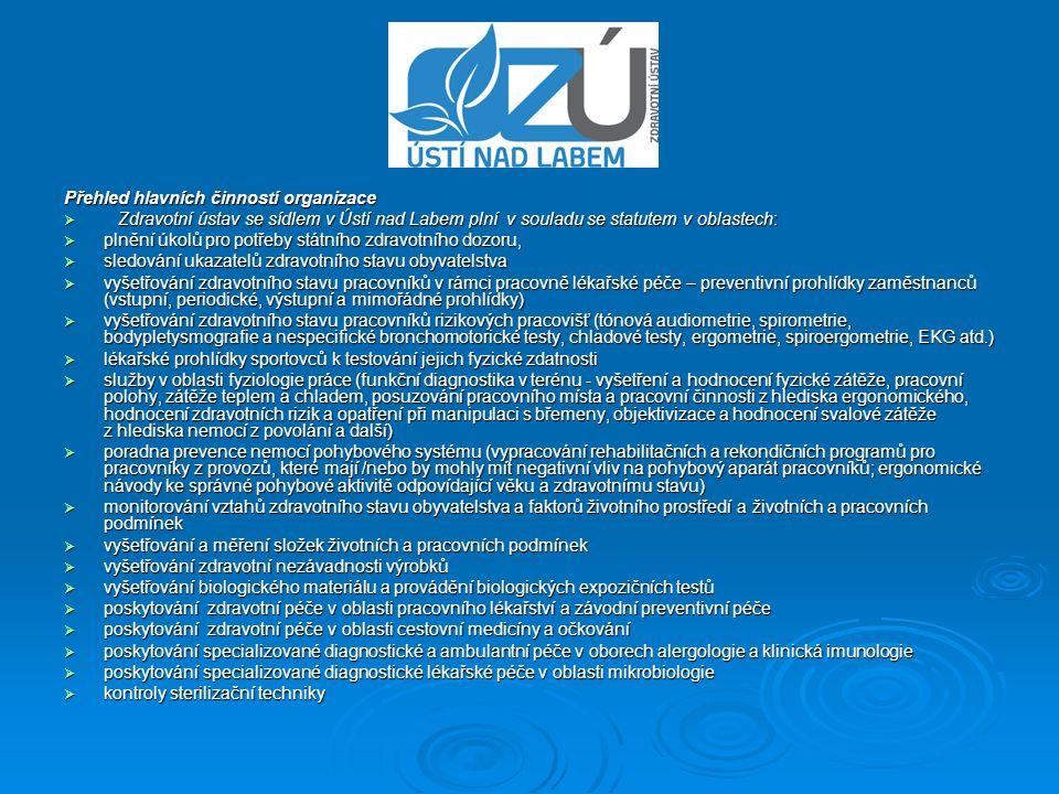 Přehled hlavních činností organizace  Zdravotní ústav se sídlem v Ústí nad Labem plní v souladu se statutem v oblastech:  plnění úkolů pro potřeby s