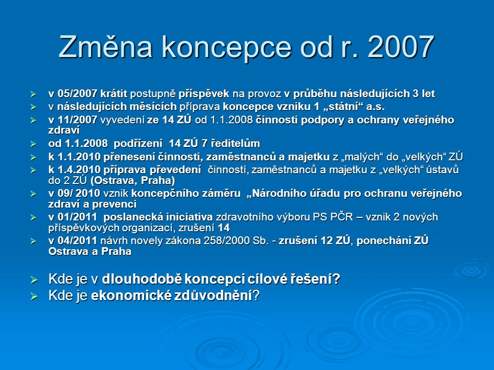 Změna koncepce od r. 2007  v 05/2007 krátit postupně příspěvek na provoz v průběhu následujících 3 let  v následujících měsících příprava koncepce v