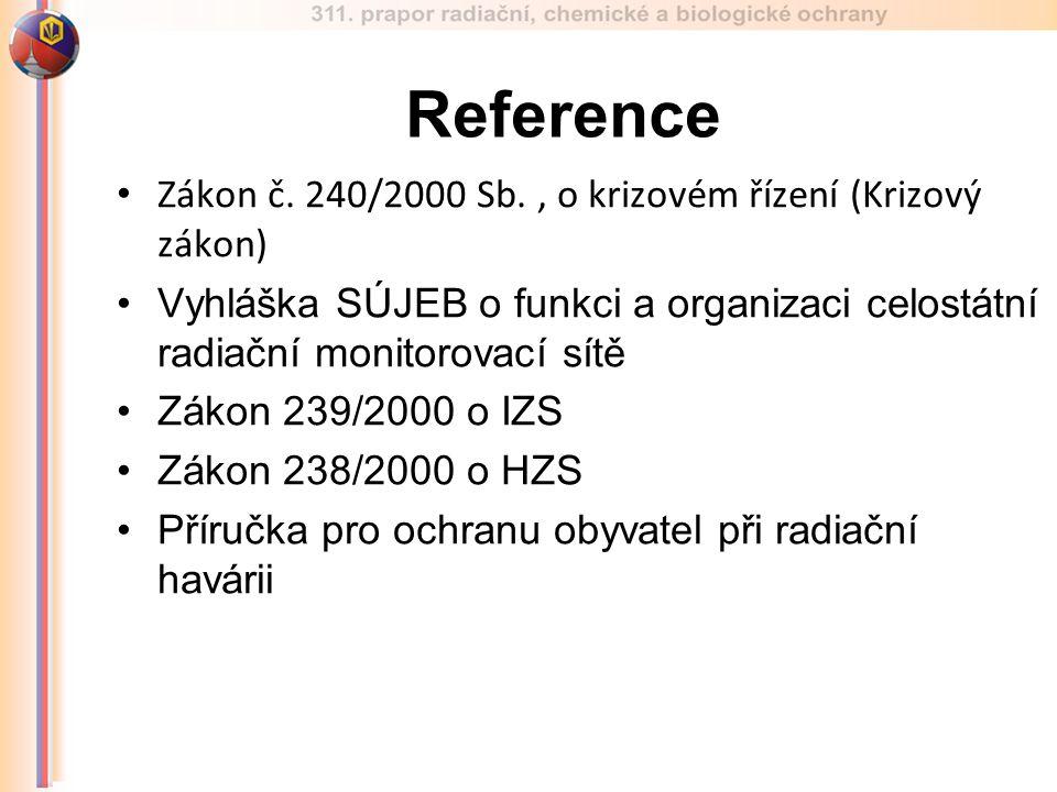 Zákon č. 240/2000 Sb., o krizovém řízení (Krizový zákon) Vyhláška SÚJEB o funkci a organizaci celostátní radiační monitorovací sítě Zákon 239/2000 o I