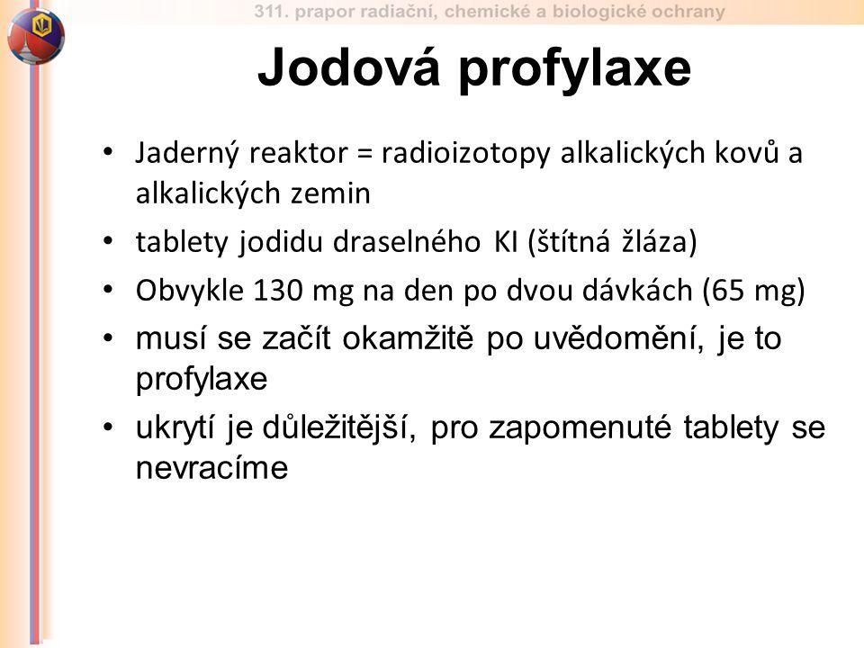 Jaderný reaktor = radioizotopy alkalických kovů a alkalických zemin tablety jodidu draselného KI (štítná žláza) Obvykle 130 mg na den po dvou dávkách (65 mg) musí se začít okamžitě po uvědomění, je to profylaxe ukrytí je důležitější, pro zapomenuté tablety se nevracíme Jodová profylaxe