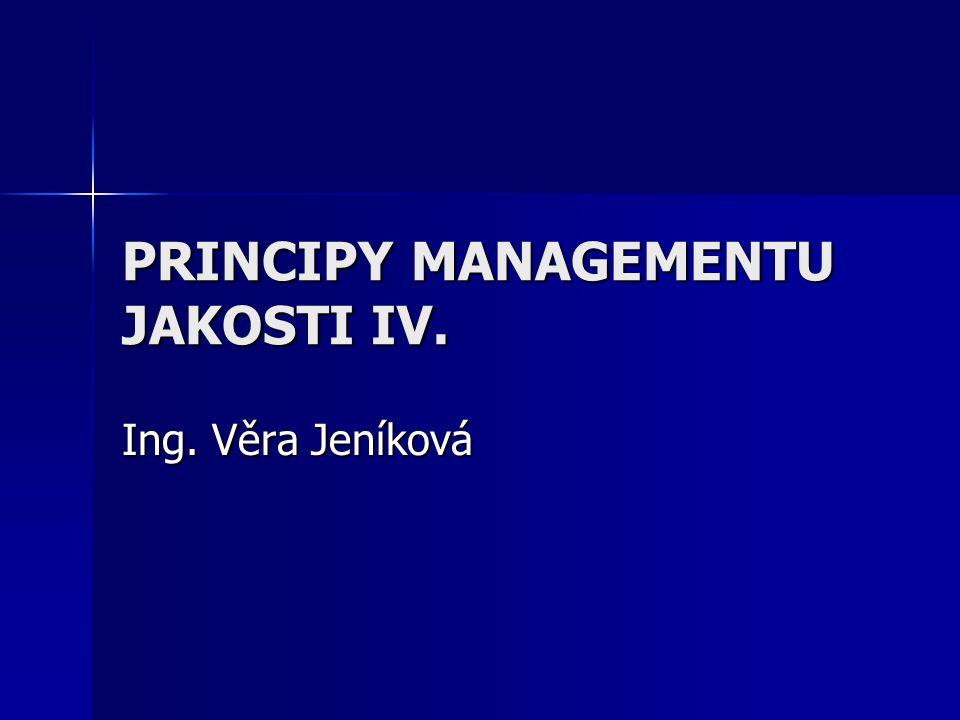 PRINCIPY MANAGEMENTU JAKOSTI IV. Ing. Věra Jeníková