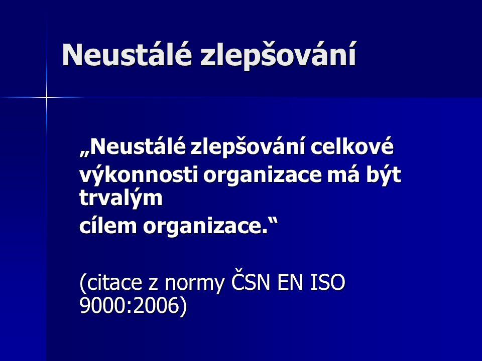 """Neustálé zlepšování """"Neustálé zlepšování celkové výkonnosti organizace má být trvalým cílem organizace. (citace z normy ČSN EN ISO 9000:2006)"""