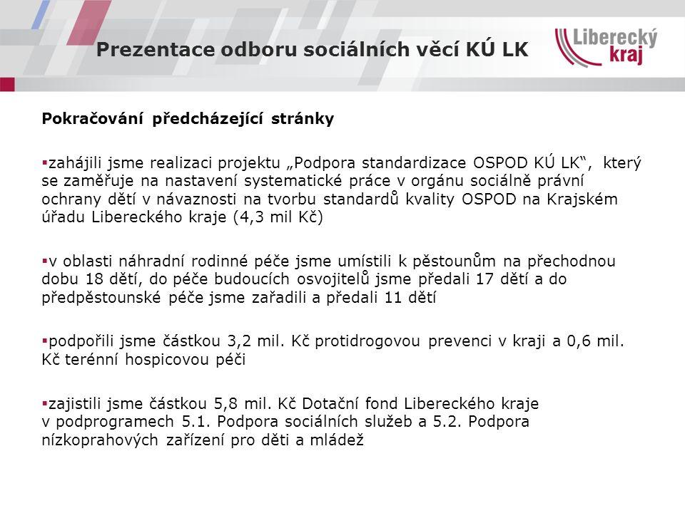 """Prezentace odboru sociálních věcí KÚ LK Pokračování předcházející stránky  zahájili jsme realizaci projektu """"Podpora standardizace OSPOD KÚ LK , který se zaměřuje na nastavení systematické práce v orgánu sociálně právní ochrany dětí v návaznosti na tvorbu standardů kvality OSPOD na Krajském úřadu Libereckého kraje (4,3 mil Kč)  v oblasti náhradní rodinné péče jsme umístili k pěstounům na přechodnou dobu 18 dětí, do péče budoucích osvojitelů jsme předali 17 dětí a do předpěstounské péče jsme zařadili a předali 11 dětí  podpořili jsme částkou 3,2 mil."""