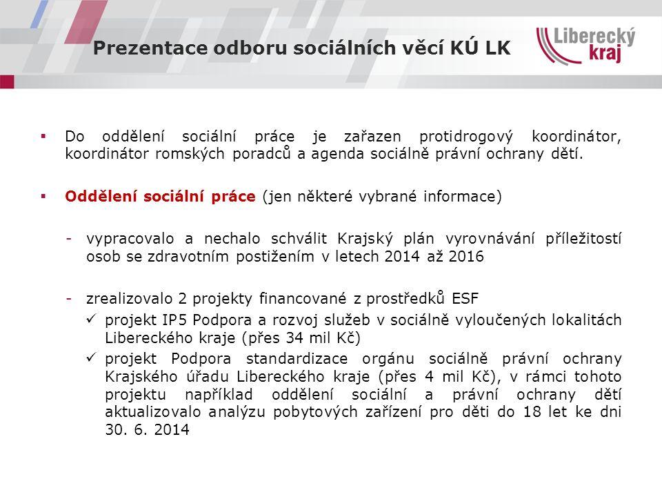 """Prezentace odboru sociálních věcí KÚ LK Pokračování předcházející stránky  zahájili jsme realizaci projektu """"IP 5 - podpora a rozvoj služeb v sociálně vyloučených lokalitách Libereckého kraje , jehož předmětem je podpora integrace osob žijících v sociálně vyloučených lokalitách Libereckého kraje formou poskytování a realizace sociálních služeb zaměřených na individuální problematiku těchto lokalit (34,7 mil."""