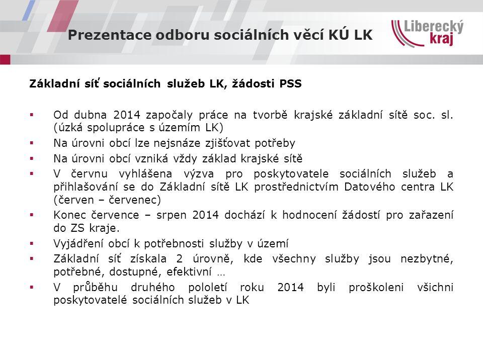 Prezentace odboru sociálních věcí KÚ LK Základní síť sociálních služeb LK, žádosti PSS  Od dubna 2014 započaly práce na tvorbě krajské základní sítě soc.