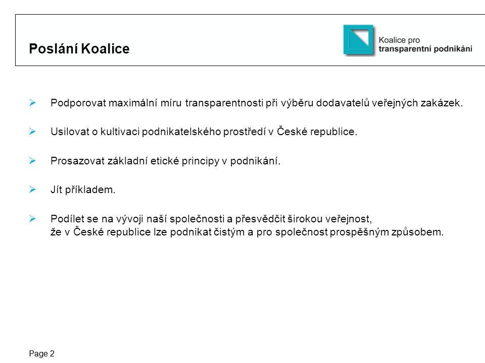 Protection notice / Copyright notice Page 2 Poslání Koalice  Podporovat maximální míru transparentnosti při výběru dodavatelů veřejných zakázek.