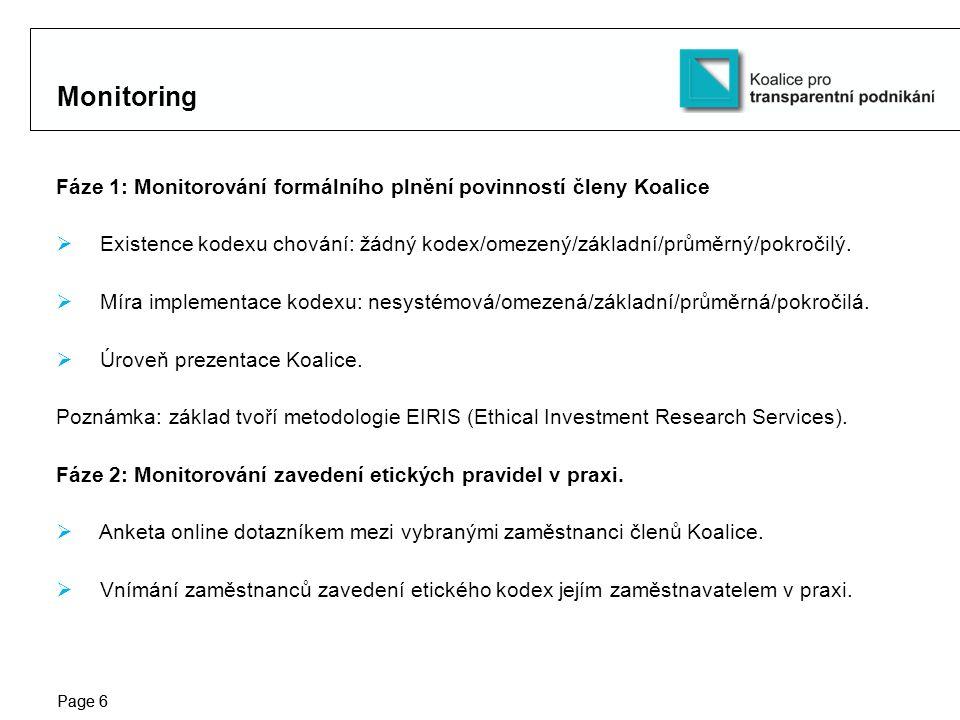 Protection notice / Copyright notice Page 6 Monitoring Fáze 1: Monitorování formálního plnění povinností členy Koalice  Existence kodexu chování: žádný kodex/omezený/základní/průměrný/pokročilý.