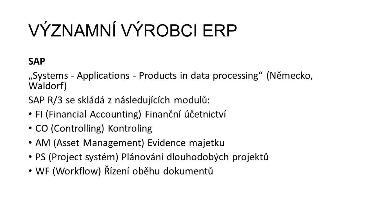"""VÝZNAMNÍ VÝROBCI ERP SAP """"Systems - Applications - Products in data processing (Německo, Waldorf) SAP R/3 se skládá z následujících modulů: FI (Financial Accounting) Finanční účetnictví CO (Controlling) Kontroling AM (Asset Management) Evidence majetku PS (Project systém) Plánování dlouhodobých projektů WF (Workflow) Řízení oběhu dokumentů"""