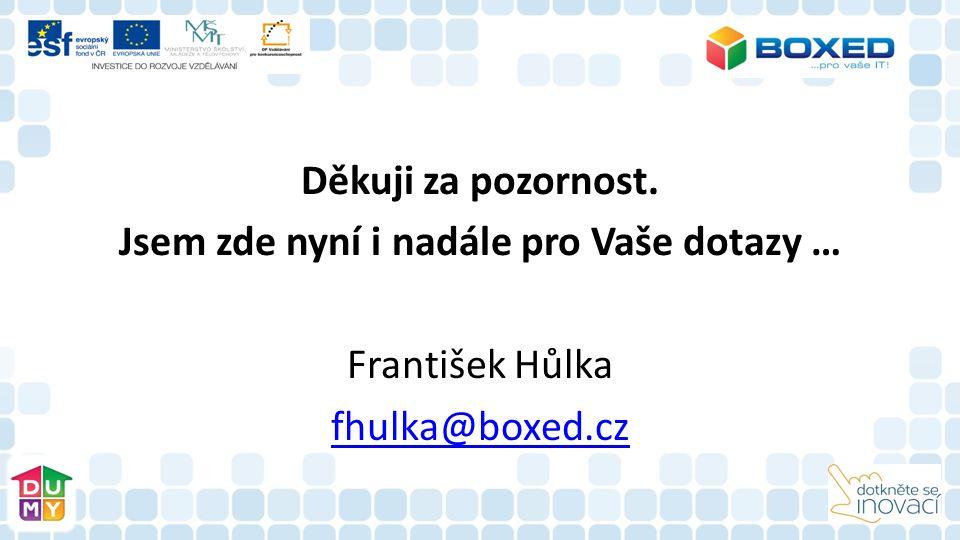 Děkuji za pozornost. Jsem zde nyní i nadále pro Vaše dotazy … František Hůlka fhulka@boxed.cz