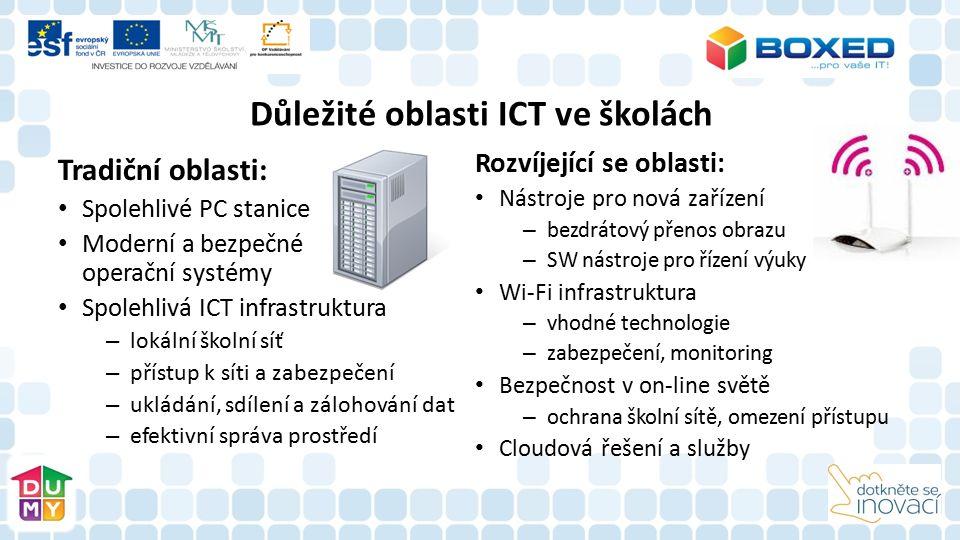 Důležité oblasti ICT ve školách Tradiční oblasti: Spolehlivé PC stanice Moderní a bezpečné operační systémy Spolehlivá ICT infrastruktura – lokální školní síť – přístup k síti a zabezpečení – ukládání, sdílení a zálohování dat – efektivní správa prostředí Rozvíjející se oblasti: Nástroje pro nová zařízení – bezdrátový přenos obrazu – SW nástroje pro řízení výuky Wi-Fi infrastruktura – vhodné technologie – zabezpečení, monitoring Bezpečnost v on-line světě – ochrana školní sítě, omezení přístupu Cloudová řešení a služby