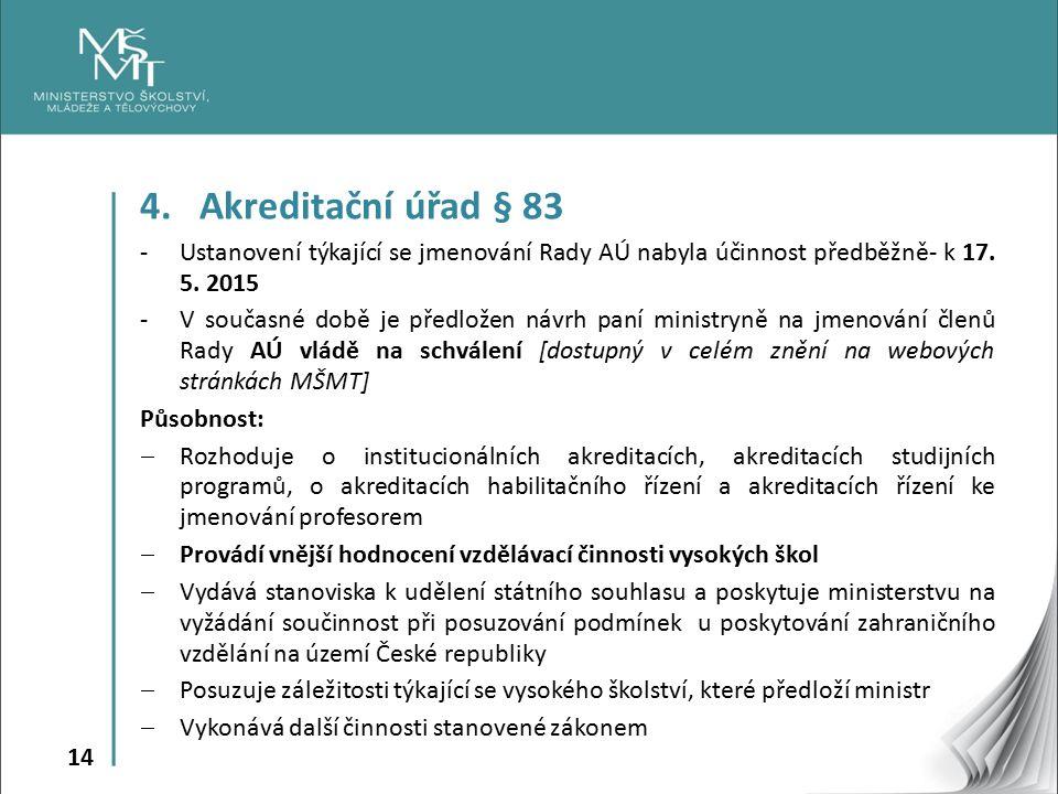 14 4.Akreditační úřad § 83 -Ustanovení týkající se jmenování Rady AÚ nabyla účinnost předběžně- k 17.