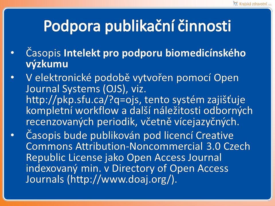 Časopis Intelekt pro podporu biomedicínského výzkumu Časopis Intelekt pro podporu biomedicínského výzkumu V elektronické podobě vytvořen pomocí Open Journal Systems (OJS), viz.