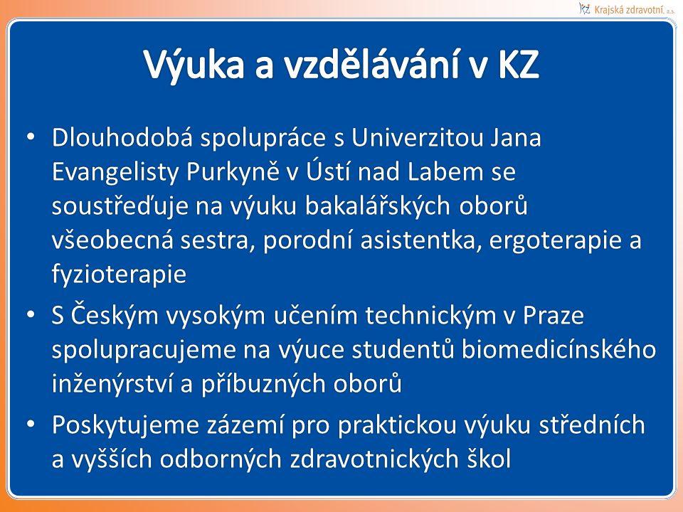 Dlouhodobá spolupráce s Univerzitou Jana Evangelisty Purkyně v Ústí nad Labem se soustřeďuje na výuku bakalářských oborů všeobecná sestra, porodní asistentka, ergoterapie a fyzioterapie Dlouhodobá spolupráce s Univerzitou Jana Evangelisty Purkyně v Ústí nad Labem se soustřeďuje na výuku bakalářských oborů všeobecná sestra, porodní asistentka, ergoterapie a fyzioterapie S Českým vysokým učením technickým v Praze spolupracujeme na výuce studentů biomedicínského inženýrství a příbuzných oborů S Českým vysokým učením technickým v Praze spolupracujeme na výuce studentů biomedicínského inženýrství a příbuzných oborů Poskytujeme zázemí pro praktickou výuku středních a vyšších odborných zdravotnických škol Poskytujeme zázemí pro praktickou výuku středních a vyšších odborných zdravotnických škol
