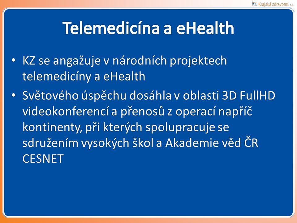 KZ se angažuje v národních projektech telemedicíny a eHealth KZ se angažuje v národních projektech telemedicíny a eHealth Světového úspěchu dosáhla v oblasti 3D FullHD videokonferencí a přenosů z operací napříč kontinenty, při kterých spolupracuje se sdružením vysokých škol a Akademie věd ČR CESNET Světového úspěchu dosáhla v oblasti 3D FullHD videokonferencí a přenosů z operací napříč kontinenty, při kterých spolupracuje se sdružením vysokých škol a Akademie věd ČR CESNET