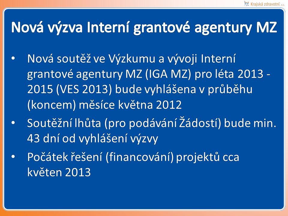 Nová soutěž ve Výzkumu a vývoji Interní grantové agentury MZ (IGA MZ) pro léta 2013 - 2015 (VES 2013) bude vyhlášena v průběhu (koncem) měsíce května 2012 Nová soutěž ve Výzkumu a vývoji Interní grantové agentury MZ (IGA MZ) pro léta 2013 - 2015 (VES 2013) bude vyhlášena v průběhu (koncem) měsíce května 2012 Soutěžní lhůta (pro podávání Žádostí) bude min.