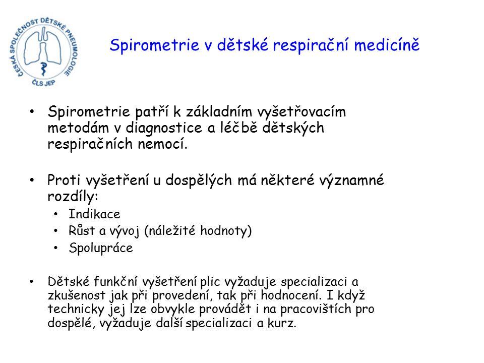 Spirometrie v dětské respirační medicíně Spirometrie patří k základním vyšetřovacím metodám v diagnostice a léčbě dětských respiračních nemocí.