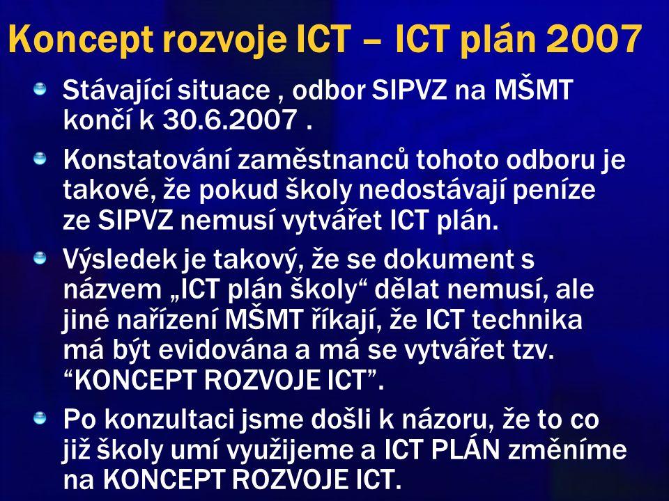 Koncept rozvoje ICT – ICT plán 2007 Stávající situace, odbor SIPVZ na MŠMT končí k 30.6.2007. Konstatování zaměstnanců tohoto odboru je takové, že pok