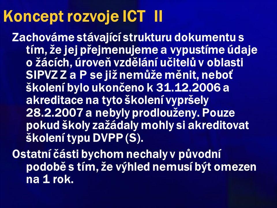 Koncept rozvoje ICT II Zachováme stávající strukturu dokumentu s tím, že jej přejmenujeme a vypustíme údaje o žácích, úroveň vzdělání učitelů v oblasti SIPVZ Z a P se již nemůže měnit, neboť školení bylo ukončeno k 31.12.2006 a akreditace na tyto školení vypršely 28.2.2007 a nebyly prodlouženy.