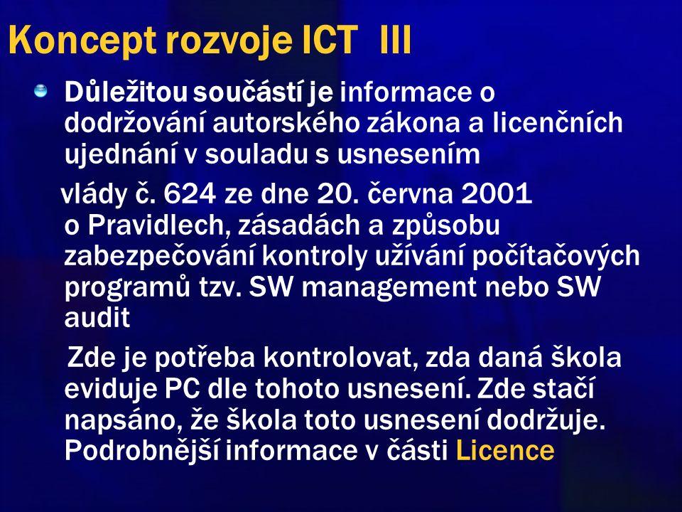Koncept rozvoje ICT III Důležitou součástí je informace o dodržování autorského zákona a licenčních ujednání v souladu s usnesením vlády č.