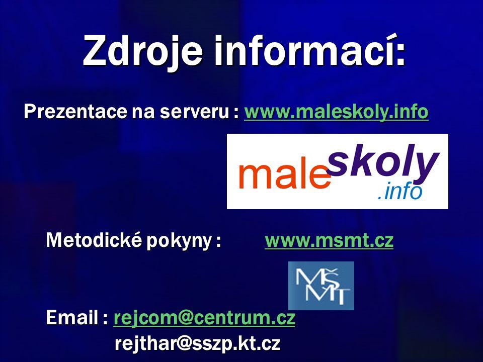 Zdroje informací: Prezentace na serveru : www.maleskoly.info www.maleskoly.info Metodické pokyny : www.msmt.cz Metodické pokyny : www.msmt.czwww.msmt.cz Email : rejcom@centrum.cz rejthar@sszp.kt.cz Email : rejcom@centrum.cz rejthar@sszp.kt.czrejcom@centrum.cz