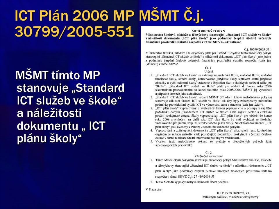 """ICT Plán 2006 MP MŠMT Č.j. 30799/2005-551 MŠMT tímto MP stanovuje """"Standard ICT služeb ve škole"""" a náležitosti dokumentu """" ICT plánu školy"""" MŠMT tímto"""