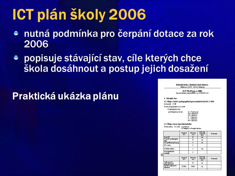 ICT plán školy 2006 nutná podmínka pro čerpání dotace za rok 2006 popisuje stávající stav, cíle kterých chce škola dosáhnout a postup jejich dosažení Praktická ukázka plánu