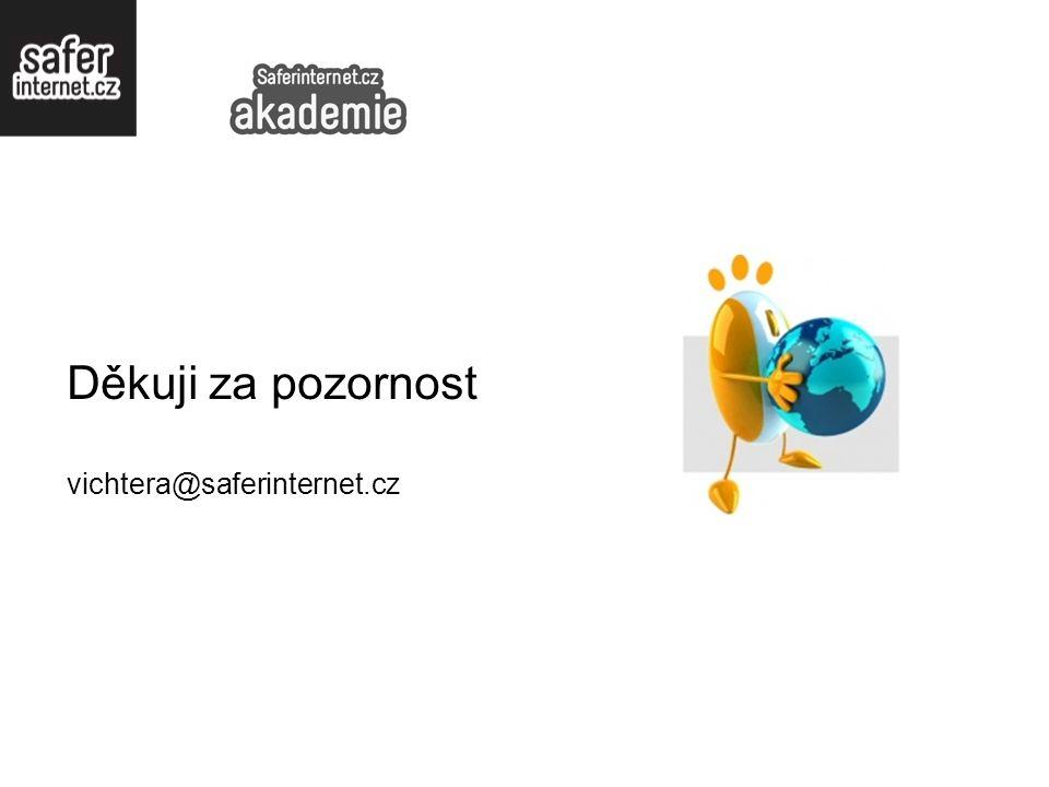 Děkuji za pozornost vichtera@saferinternet.cz