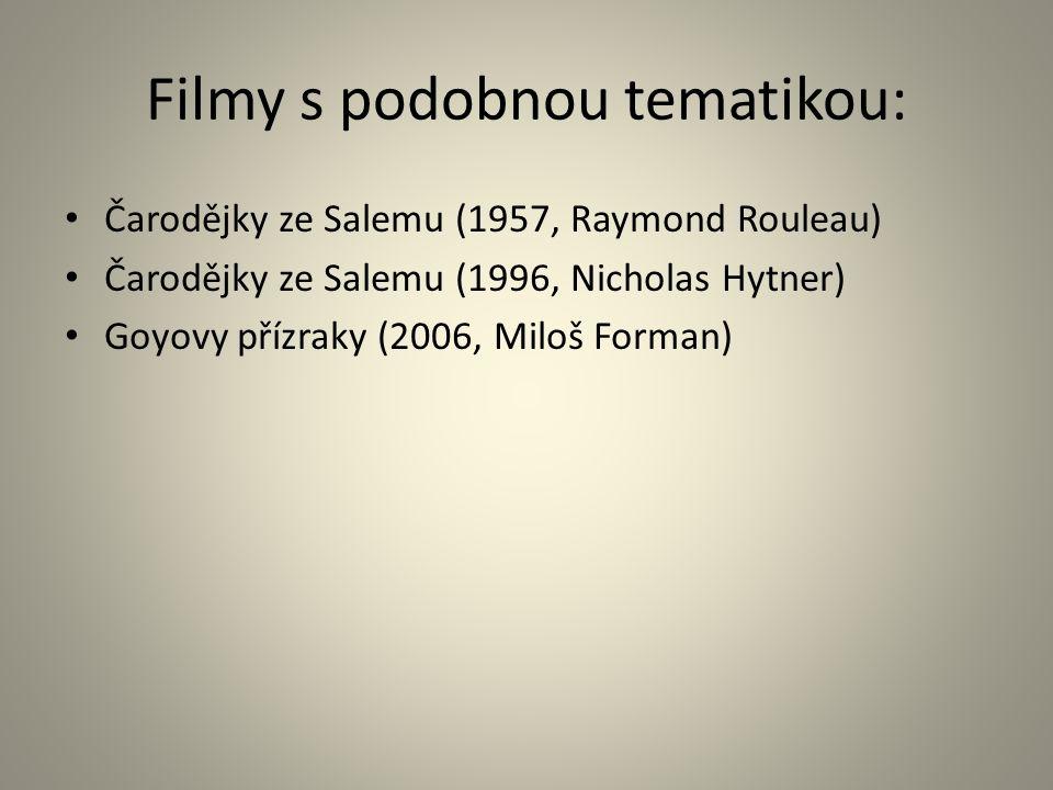 Filmy s podobnou tematikou: Čarodějky ze Salemu (1957, Raymond Rouleau) Čarodějky ze Salemu (1996, Nicholas Hytner) Goyovy přízraky (2006, Miloš Forman)