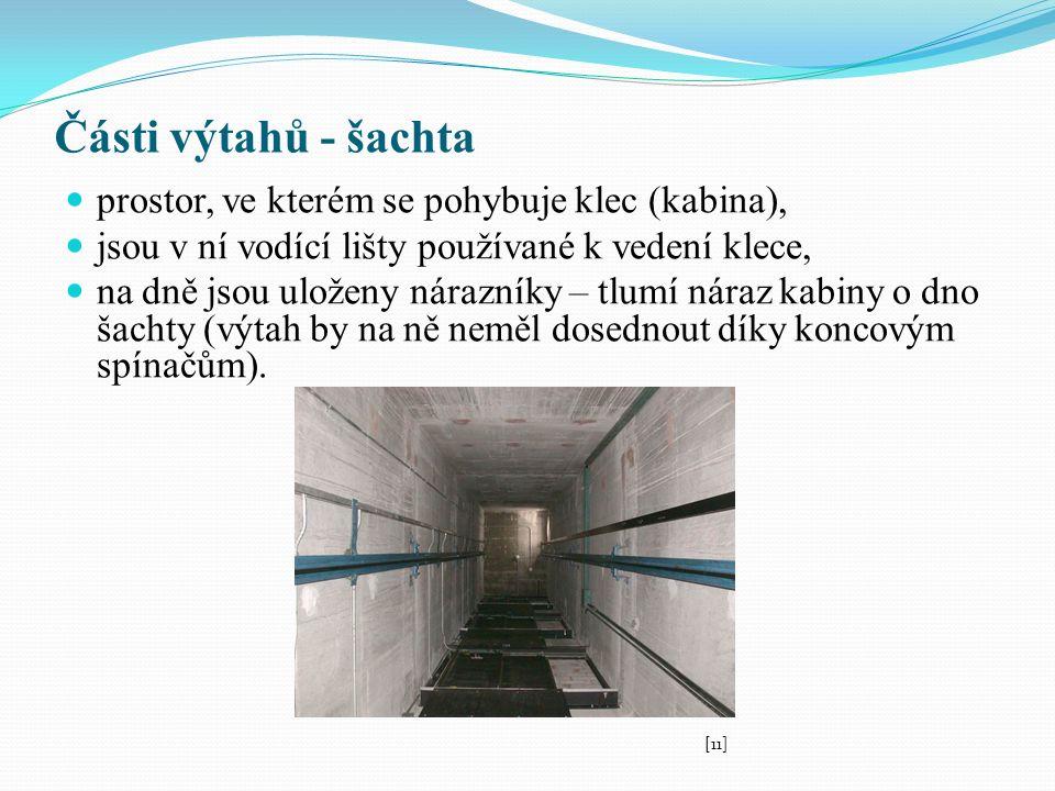 Části výtahů - šachta prostor, ve kterém se pohybuje klec (kabina), jsou v ní vodící lišty používané k vedení klece, na dně jsou uloženy nárazníky – tlumí náraz kabiny o dno šachty (výtah by na ně neměl dosednout díky koncovým spínačům).