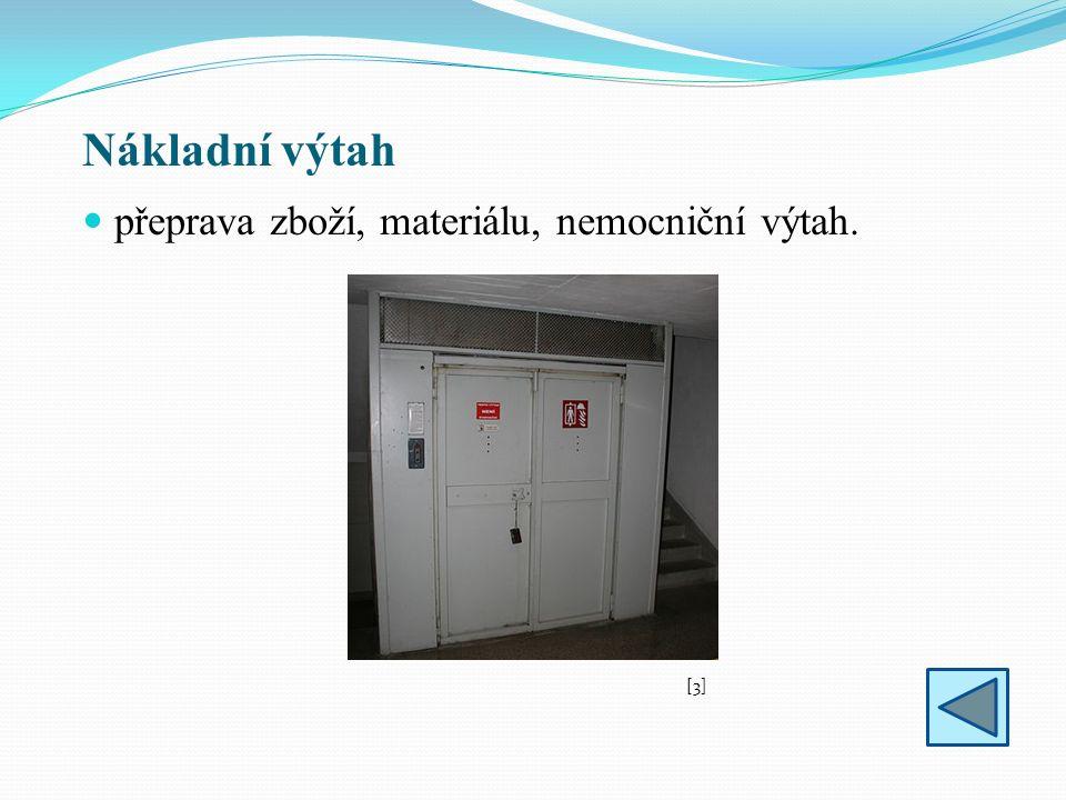 Druhy výtahů - ruční výtah je tvořen pevnými horními a dolními kladkami, přes které jde lano, na kterém je vpředu upevněna klec a vzadu závaží, klec se zvedá tahem za lano (řetěz) a spouští uvolňováním pásové brzdy, nosnost až 50 kg, použití: hotely – jídelní výtahy, administrativní budovy, pošty – doprava zásilek.
