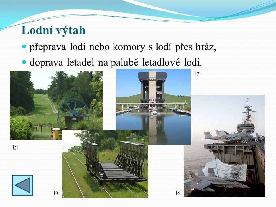 Lodní výtah přeprava lodí nebo komory s lodí přes hráz, doprava letadel na palubě letadlové lodi. [5][5] [6][6] [7][7] [8][8]
