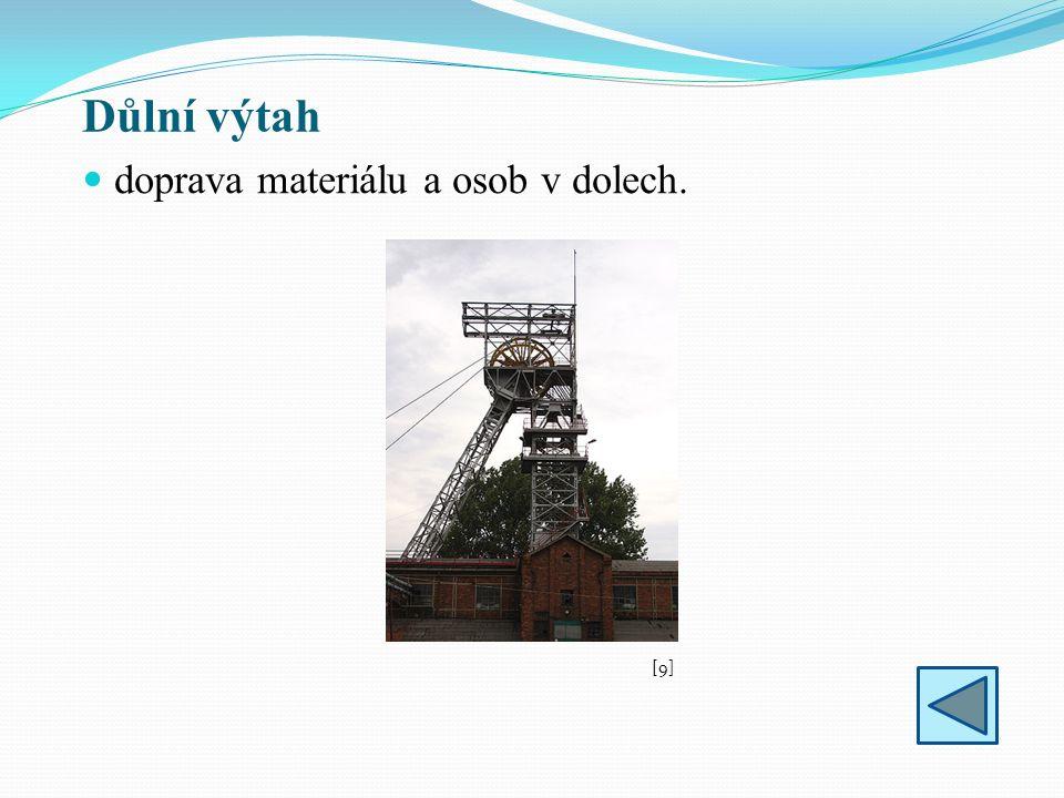 Důlní výtah doprava materiálu a osob v dolech. [9][9]
