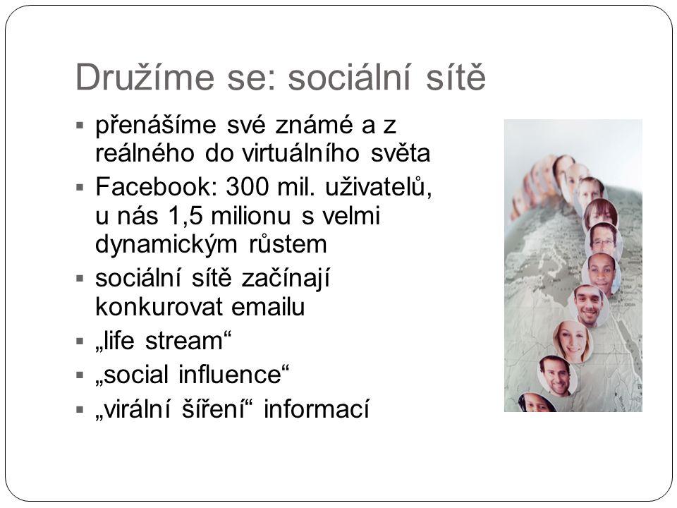 Družíme se: sociální sítě  přenášíme své známé a z reálného do virtuálního světa  Facebook: 300 mil. uživatelů, u nás 1,5 milionu s velmi dynamickým