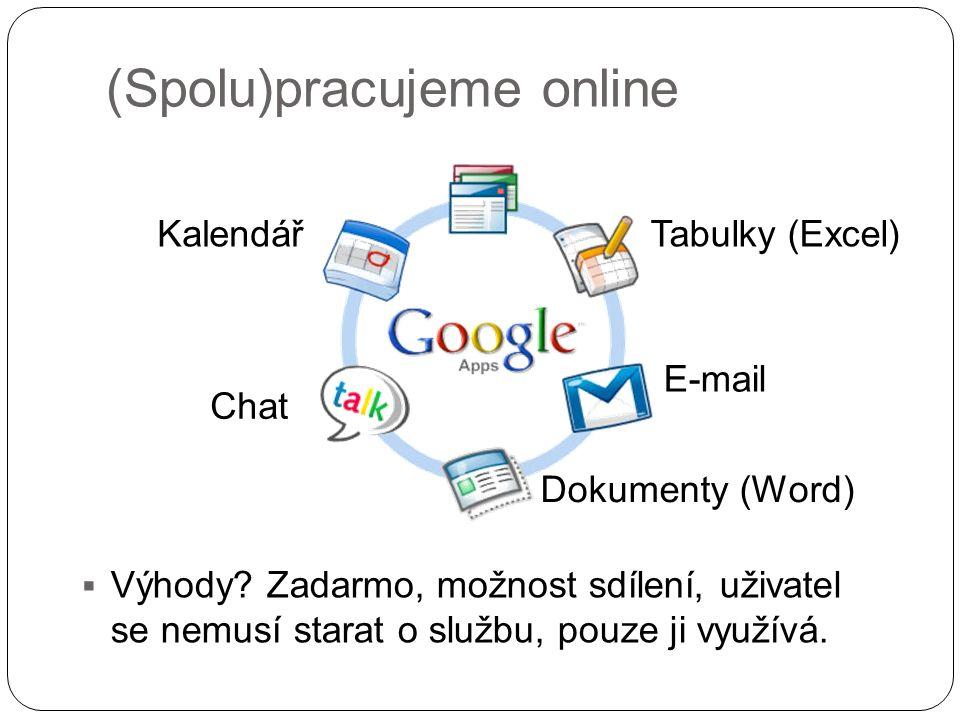 (Spolu)pracujeme online  Výhody? Zadarmo, možnost sdílení, uživatel se nemusí starat o službu, pouze ji využívá. Tabulky (Excel) E-mail Dokumenty (Wo
