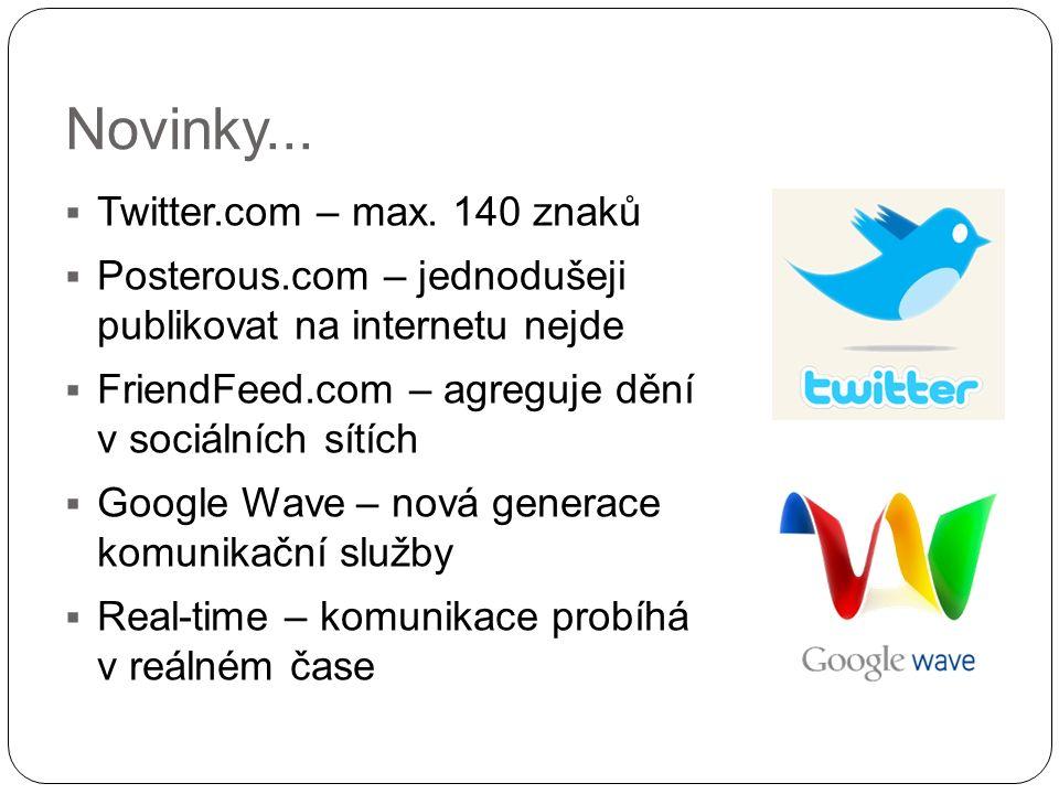 Novinky...  Twitter.com – max. 140 znaků  Posterous.com – jednodušeji publikovat na internetu nejde  FriendFeed.com – agreguje dění v sociálních sí