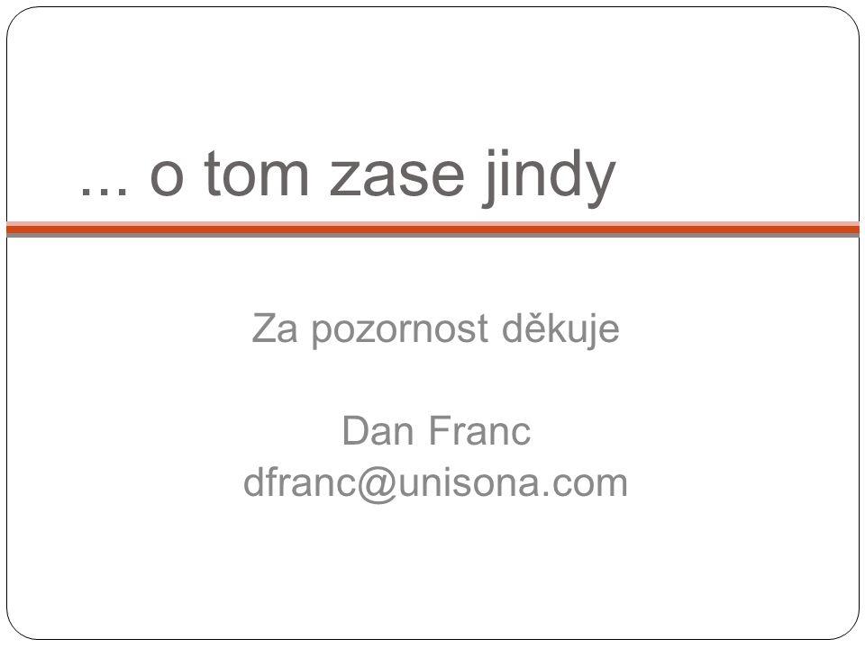 ... o tom zase jindy Za pozornost děkuje Dan Franc dfranc@unisona.com