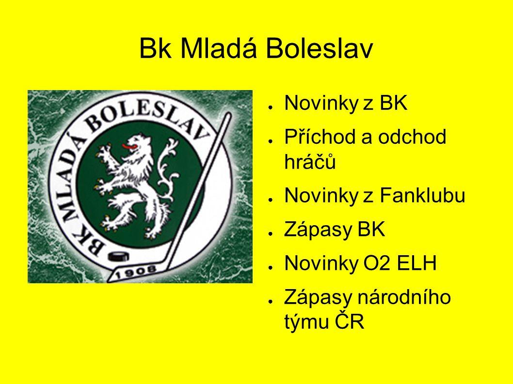 Bk Mladá Boleslav ● Novinky z BK ● Příchod a odchod hráčů ● Novinky z Fanklubu ● Zápasy BK ● Novinky O2 ELH ● Zápasy národního týmu ČR