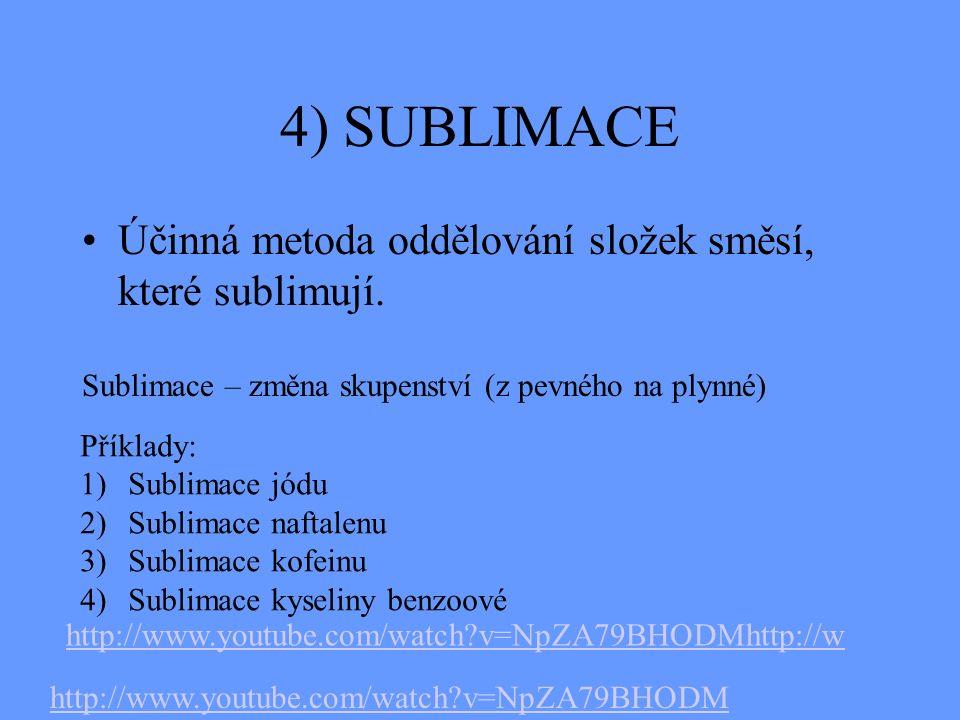 4) SUBLIMACE Účinná metoda oddělování složek směsí, které sublimují.