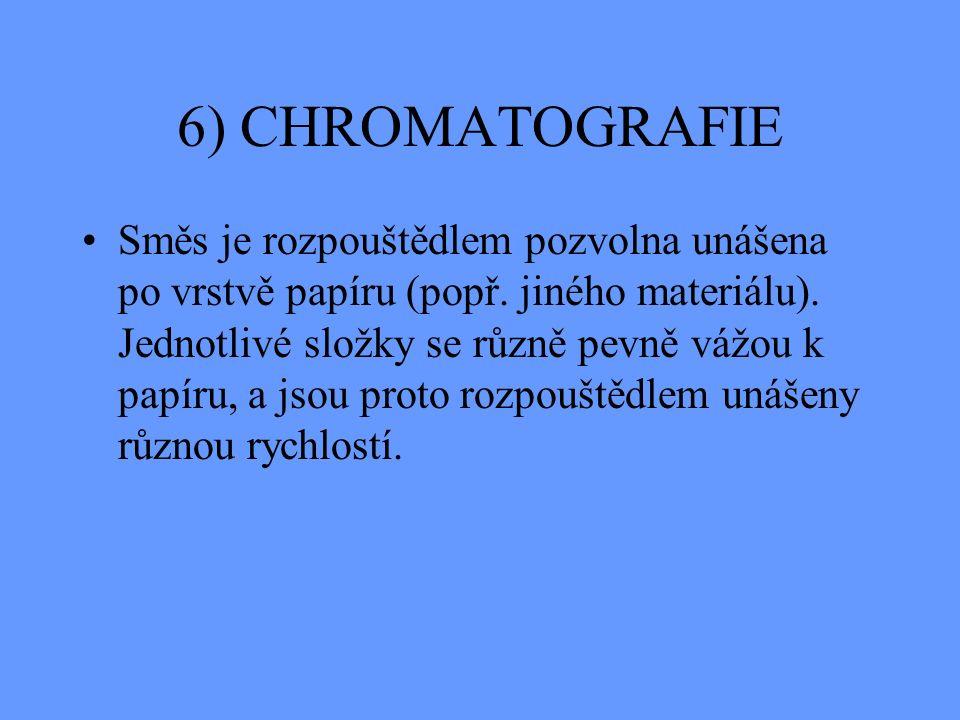 6) CHROMATOGRAFIE Směs je rozpouštědlem pozvolna unášena po vrstvě papíru (popř.